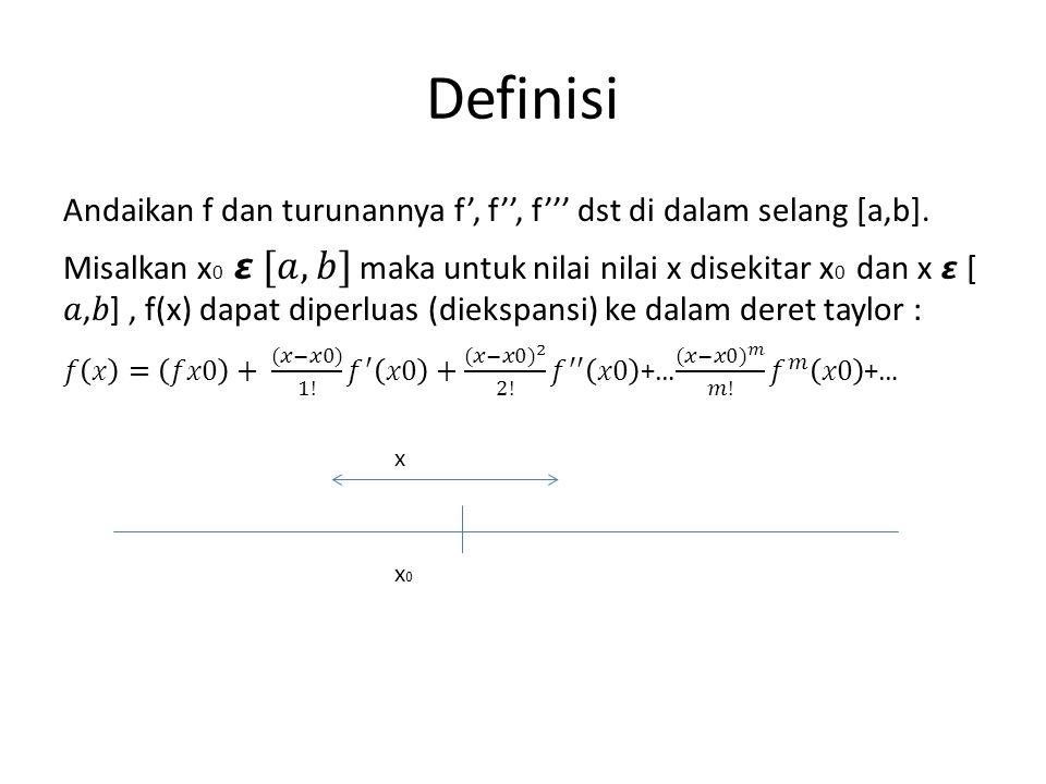 Definisi Andaikan f dan turunannya f', f'', f''' dst di dalam selang [a,b].